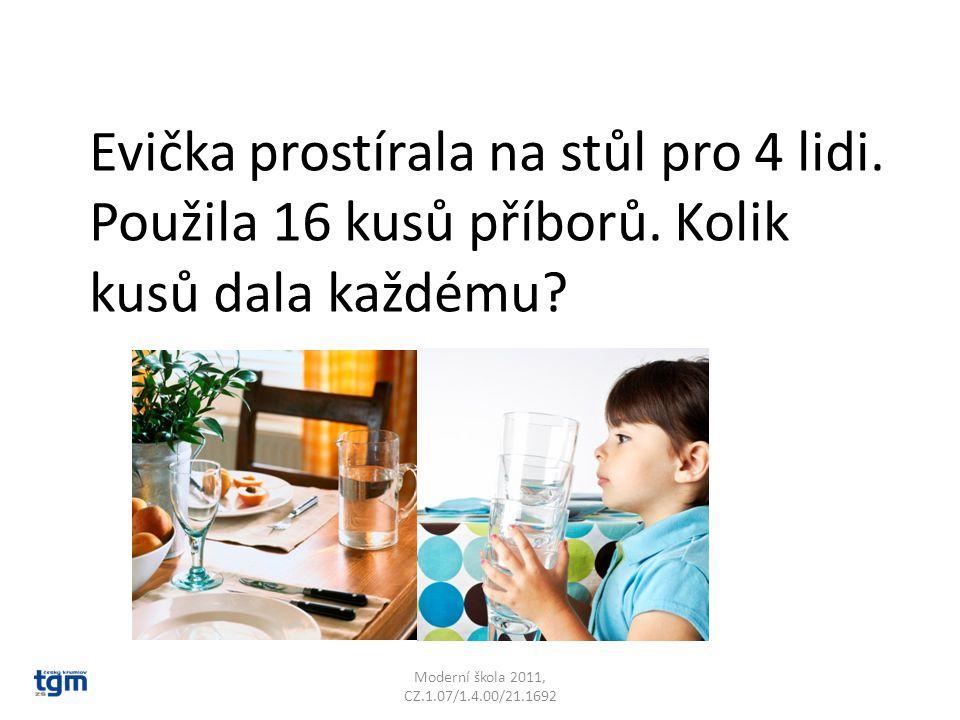 Moderní škola 2011, CZ.1.07/1.4.00/21.1692 Evička prostírala na stůl pro 4 lidi.