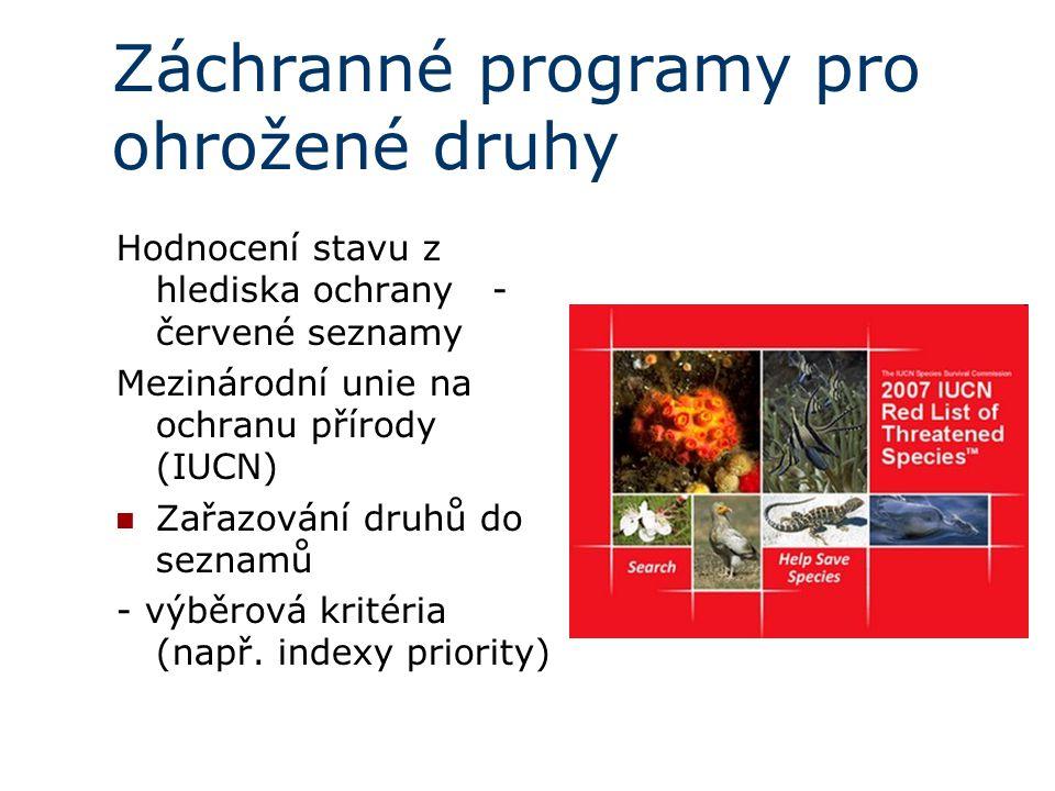 Záchranné programy pro ohrožené druhy Hodnocení stavu z hlediska ochrany - červené seznamy Mezinárodní unie na ochranu přírody (IUCN) Zařazování druhů do seznamů - výběrová kritéria (např.