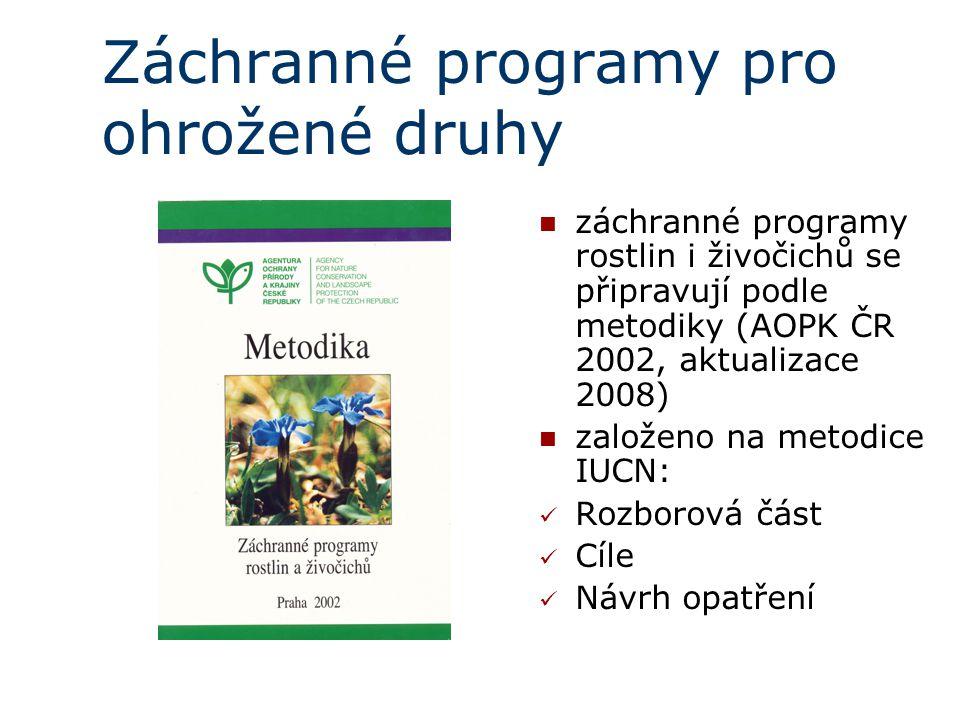 záchranné programy rostlin i živočichů se připravují podle metodiky (AOPK ČR 2002, aktualizace 2008) založeno na metodice IUCN  : Rozborová část Cíle Návrh opatření