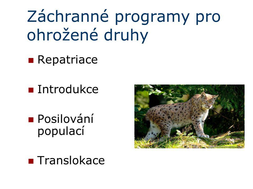Záchranné programy pro ohrožené druhy Repatriace  Introdukce Posilování populací Translokace