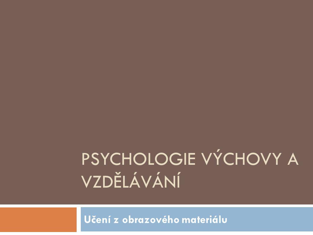 PSYCHOLOGIE VÝCHOVY A VZDĚLÁVÁNÍ Učení z obrazového materiálu