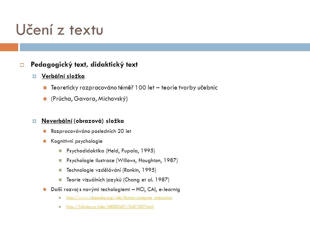 Učení z textu  Pedagogický text, didaktický text  Verbální složka Teoreticky rozpracováno téměř 100 let – teorie tvorby učebnic (Průcha, Gavora, Mic