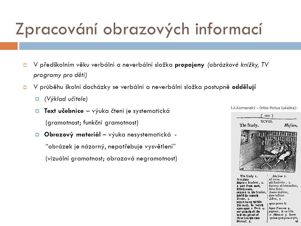 Zpracování obrazových informací  V předškolním věku verbální a neverbální složka propojeny (obrázkové knížky, TV programy pro děti)  V průběhu školn