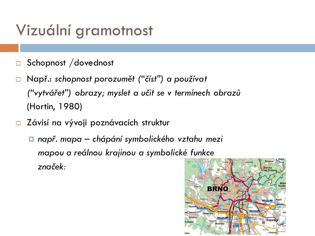 """Vizuální gramotnost  Schopnost /dovednost  Např.: schopnost porozumět (""""číst"""") a používat (""""vytvářet"""") obrazy; myslet a učit se v termínech obrazů ("""