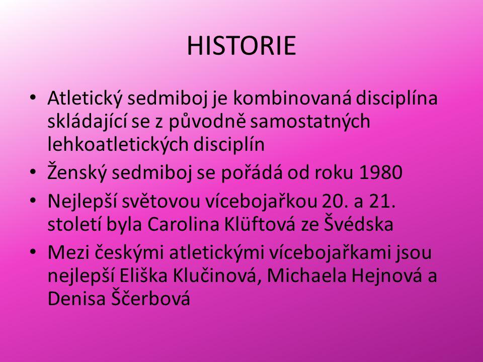 HISTORIE Atletický sedmiboj je kombinovaná disciplína skládající se z původně samostatných lehkoatletických disciplín Ženský sedmiboj se pořádá od roku 1980 Nejlepší světovou vícebojařkou 20.