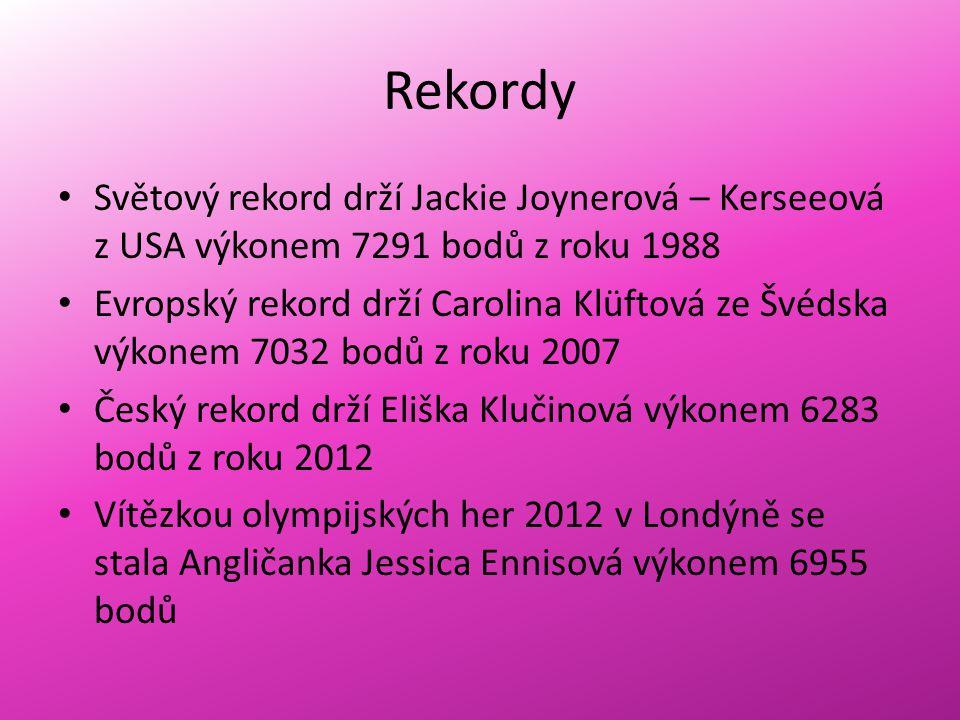 Rekordy Světový rekord drží Jackie Joynerová – Kerseeová z USA výkonem 7291 bodů z roku 1988 Evropský rekord drží Carolina Klüftová ze Švédska výkonem 7032 bodů z roku 2007 Český rekord drží Eliška Klučinová výkonem 6283 bodů z roku 2012 Vítězkou olympijských her 2012 v Londýně se stala Angličanka Jessica Ennisová výkonem 6955 bodů