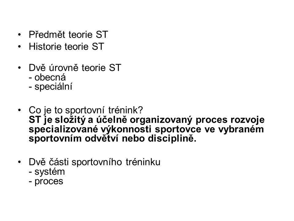 Předmět teorie ST Historie teorie ST Dvě úrovně teorie ST - obecná - speciální Co je to sportovní trénink? ST je složitý a účelně organizovaný proces