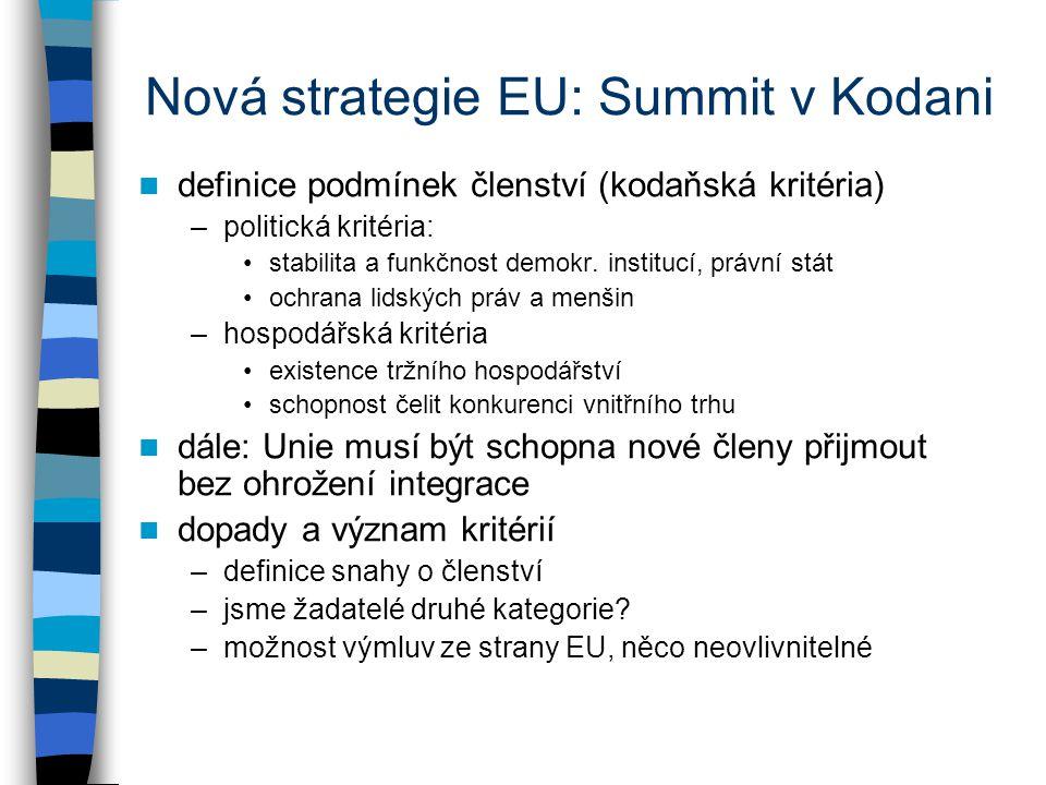 Nová strategie EU: Summit v Kodani definice podmínek členství (kodaňská kritéria) –politická kritéria: stabilita a funkčnost demokr.