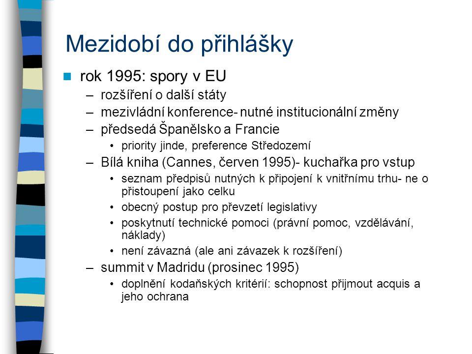 Mezidobí do přihlášky rok 1995: spory v EU –rozšíření o další státy –mezivládní konference- nutné institucionální změny –předsedá Španělsko a Francie priority jinde, preference Středozemí –Bílá kniha (Cannes, červen 1995)- kuchařka pro vstup seznam předpisů nutných k připojení k vnitřnímu trhu- ne o přistoupení jako celku obecný postup pro převzetí legislativy poskytnutí technické pomoci (právní pomoc, vzdělávání, náklady) není závazná (ale ani závazek k rozšíření) –summit v Madridu (prosinec 1995) doplnění kodaňských kritérií: schopnost přijmout acquis a jeho ochrana