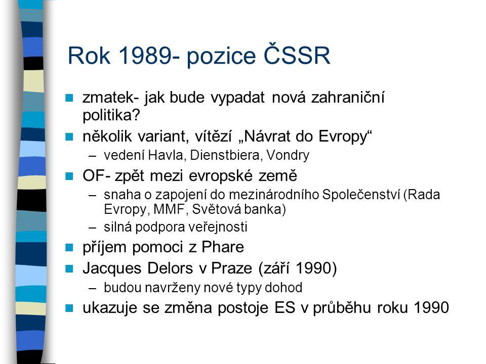 Rok 1989- pozice ČSSR zmatek- jak bude vypadat nová zahraniční politika.