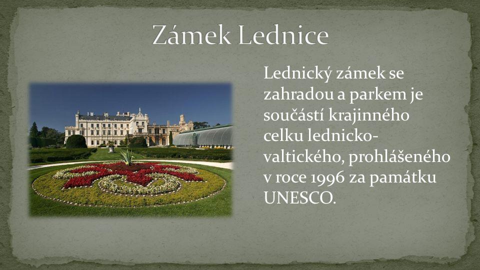 Lednický zámek se zahradou a parkem je součástí krajinného celku lednicko- valtického, prohlášeného v roce 1996 za památku UNESCO.