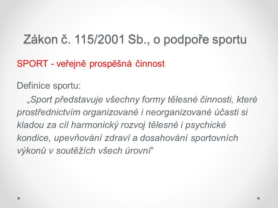 """Zákon č. 115/2001 Sb., o podpoře sportu SPORT - veřejně prospěšná činnost Definice sportu: """"Sport představuje všechny formy tělesné činnosti, které pr"""