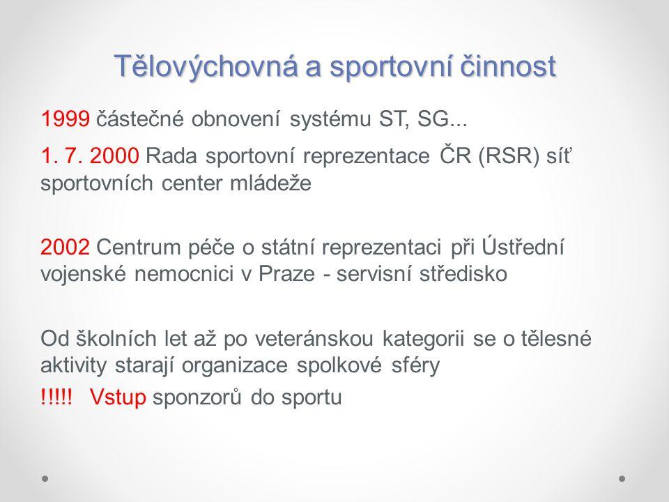 Tělovýchovná a sportovní činnost 1999 částečné obnovení systému ST, SG... 1. 7. 2000 Rada sportovní reprezentace ČR (RSR) síť sportovních center mláde