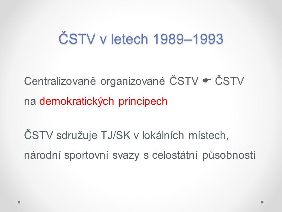 ČSTV v letech 1989–1993 Centralizovaně organizované ČSTV  ČSTV na demokratických principech ČSTV sdružuje TJ/SK v lokálních místech, národní sportovn