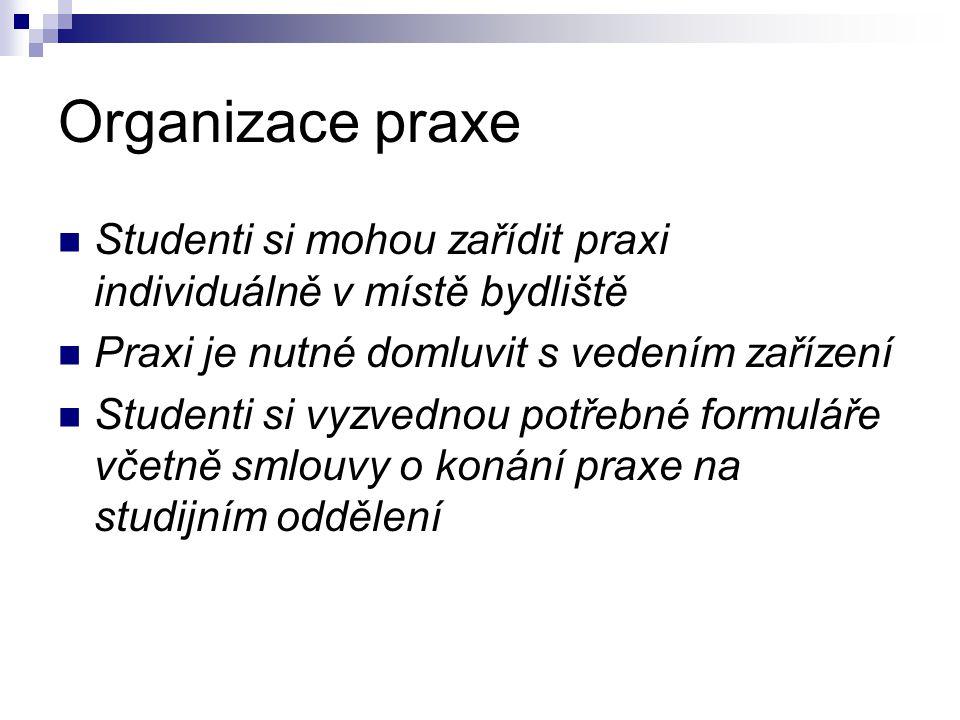 Organizace praxe Studenti si mohou zařídit praxi individuálně v místě bydliště Praxi je nutné domluvit s vedením zařízení Studenti si vyzvednou potřebné formuláře včetně smlouvy o konání praxe na studijním oddělení