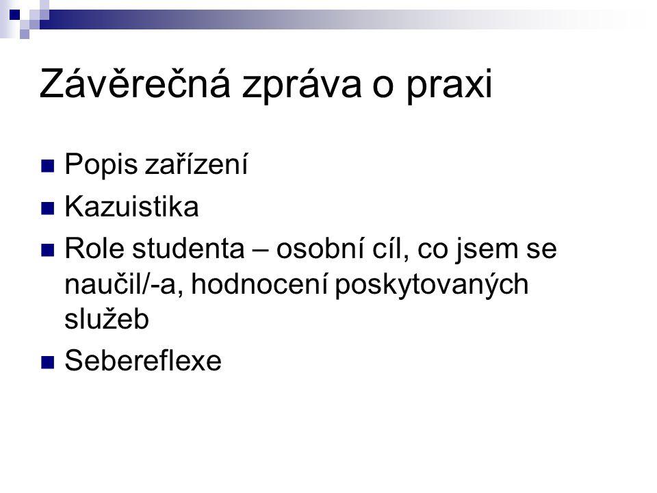 Závěrečná zpráva o praxi Popis zařízení Kazuistika Role studenta – osobní cíl, co jsem se naučil/-a, hodnocení poskytovaných služeb Sebereflexe