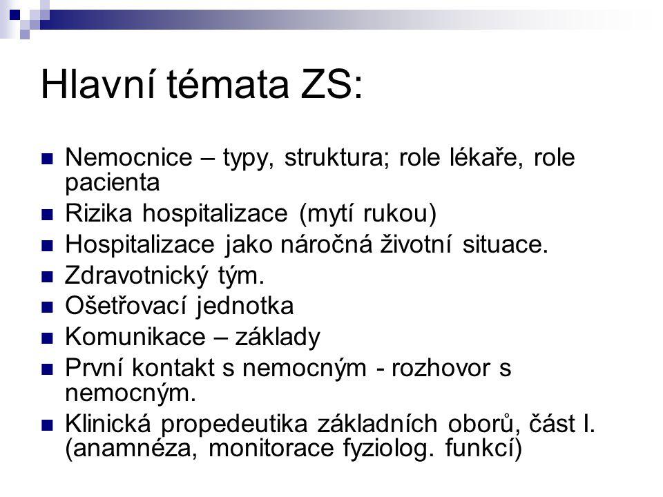 Hlavní témata ZS: Nemocnice – typy, struktura; role lékaře, role pacienta Rizika hospitalizace (mytí rukou) Hospitalizace jako náročná životní situace.