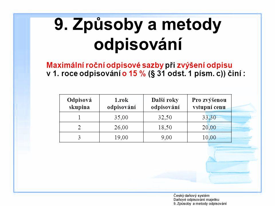 9. Způsoby a metody odpisování Maximální roční odpisové sazby při zvýšení odpisu v 1. roce odpisování o 15 % (§ 31 odst. 1 písm. c)) činí : Český daňo