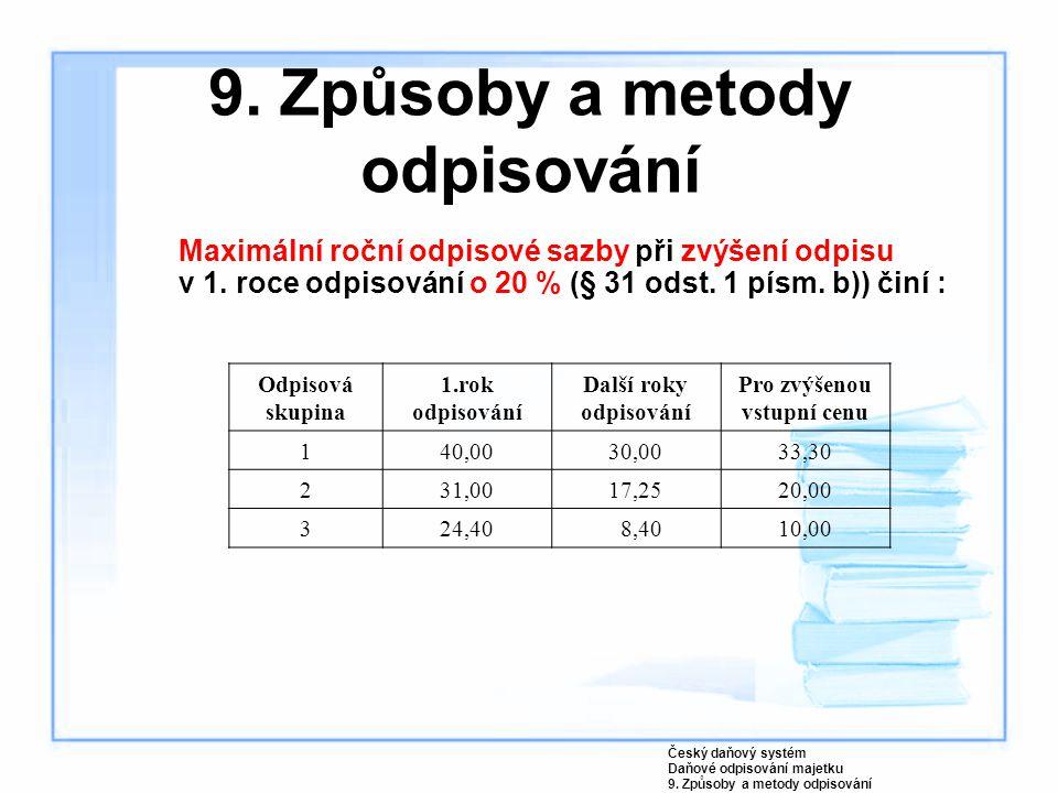 9. Způsoby a metody odpisování Maximální roční odpisové sazby při zvýšení odpisu v 1. roce odpisování o 20 % (§ 31 odst. 1 písm. b)) činí : Český daňo