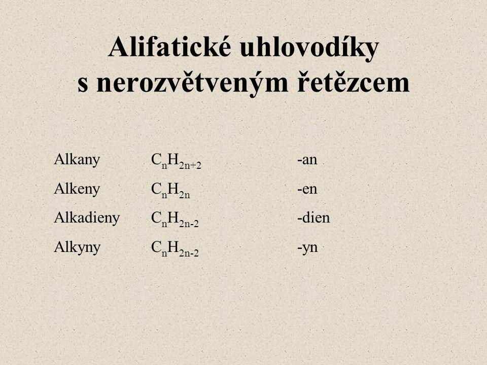 Cyklické uhlovodíky cykloalkanyC n H 2n cykloalkenyC n H 2n-2 arenyzáklad názvu je benzen a triviální názvy jiných arenů
