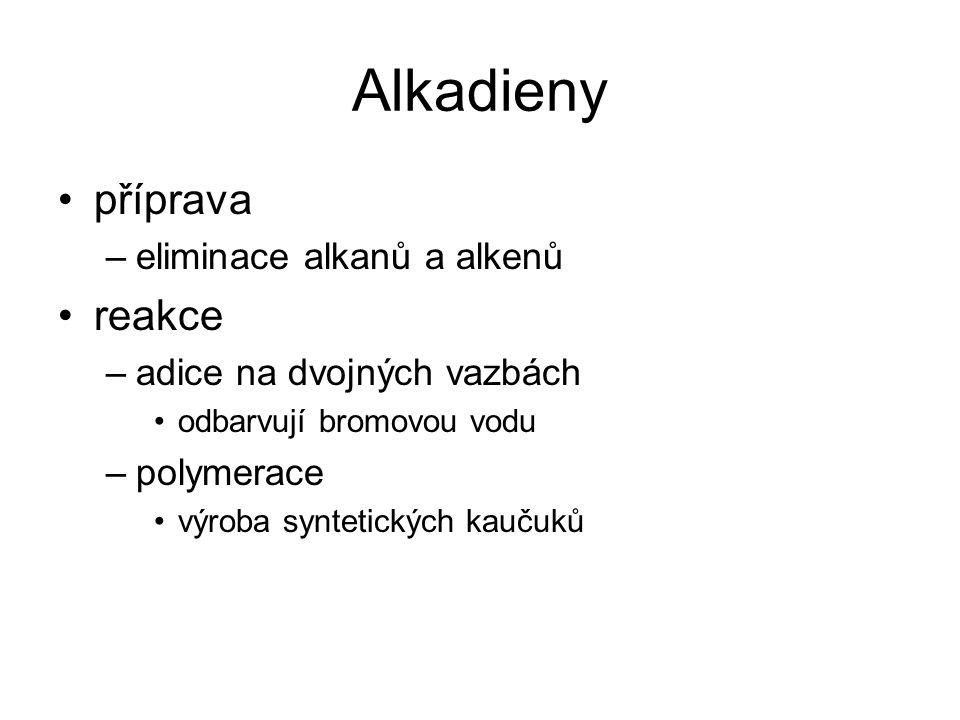 Alkadieny příprava –eliminace alkanů a alkenů reakce –adice na dvojných vazbách odbarvují bromovou vodu –polymerace výroba syntetických kaučuků