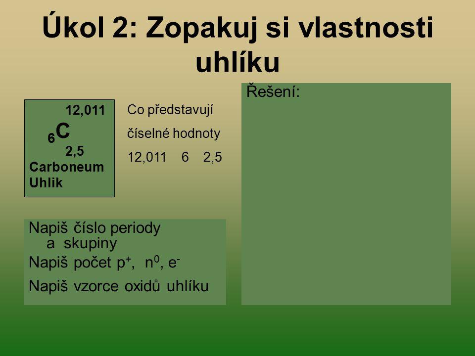 Úkol 2: Zopakuj si vlastnosti uhlíku Napiš číslo periody a skupiny Napiš počet p +, n 0, e - Napiš vzorce oxidů uhlíku Řešení: molární hmotnost proton