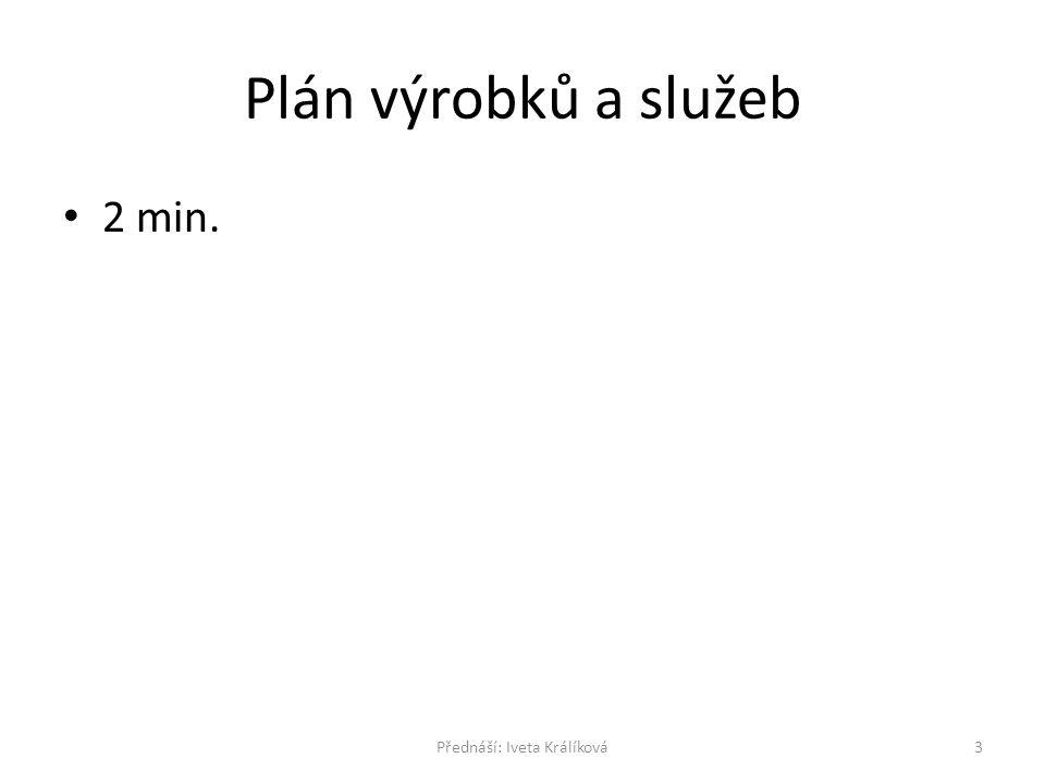 Plán výrobků a služeb 2 min. 3Přednáší: Iveta Králíková