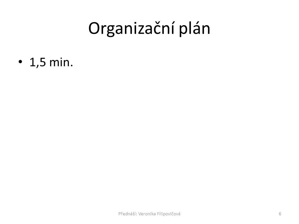 Organizační plán 1,5 min. 6Přednáší: Veronika Filipovičová