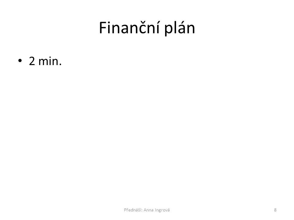 Finanční plán 2 min. 8Přednáší: Anna Ingrová