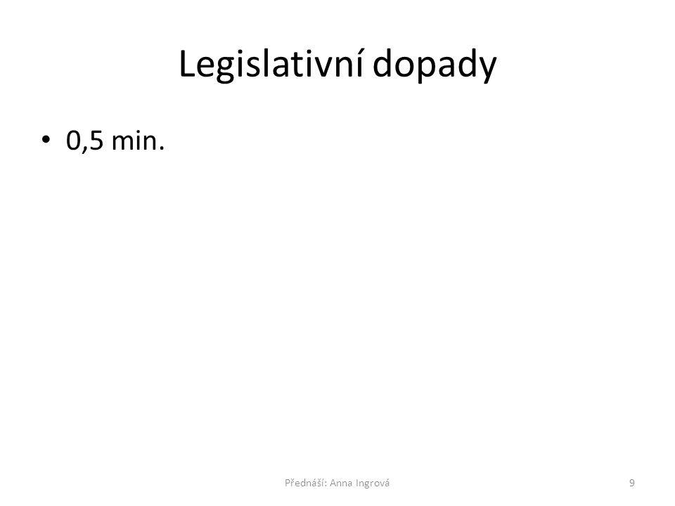 Legislativní dopady 0,5 min. 9Přednáší: Anna Ingrová