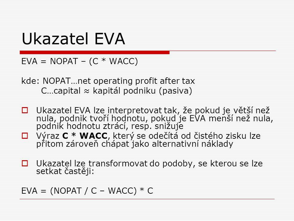 Ukazatel EVA EVA = NOPAT – (C * WACC) kde: NOPAT…net operating profit after tax C…capital ≈ kapitál podniku (pasiva)  Ukazatel EVA lze interpretovat
