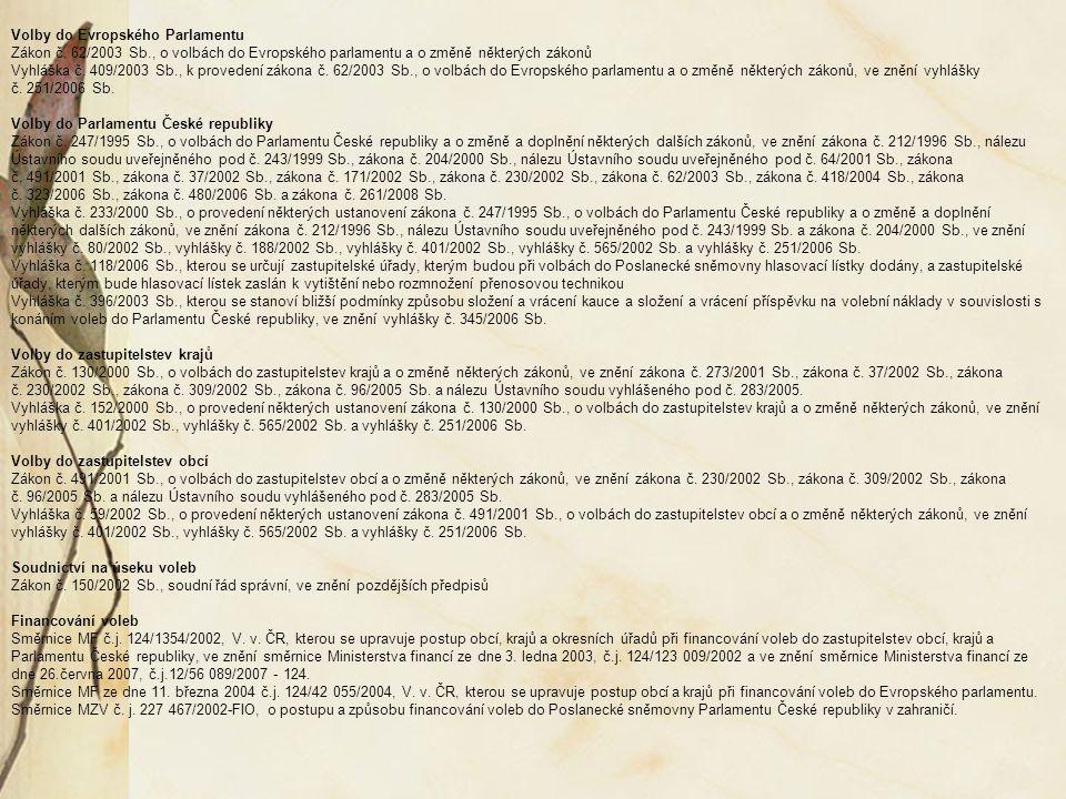 Volby do Evropského Parlamentu Zákon č. 62/2003 Sb., o volbách do Evropského parlamentu a o změně některých zákonů Vyhláška č. 409/2003 Sb., k provede