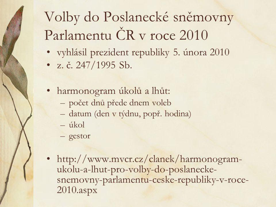 Volby do Poslanecké sněmovny Parlamentu ČR v roce 2010 vyhlásil prezident republiky 5. února 2010 z. č. 247/1995 Sb. harmonogram úkolů a lhůt: –počet