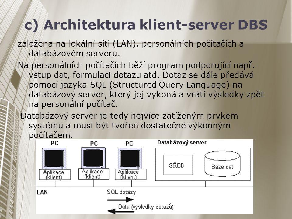 c) Architektura klient-server DBS založena na lokální síti (LAN), personálních počítačích a databázovém serveru. Na personálních počítačích běží progr