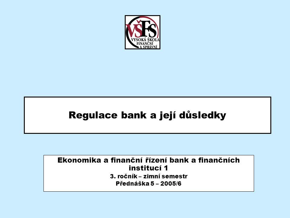 2005/6EBF 1/5 - Regulace bank a její důsledky2 Obsah –Opakování Obecný model podnikání Výkonná řídící struktura Klientský přístup –Smysl finančního řízení bank –Vztah rizikovosti a ziskovosti –Aktiva a pasiva banky –Podnikání s rizikem –Bankovní dohled ČNB Kapitálová přiměřenost a limity angažovanosti Požadavky na řízení tržních rizik Požadavky na řízení úvěrového rizika Požadavky na řízení likvidity Požadavky na tvorbu opravných položek Požadavky na povinné minimální rezervy –Doporučení Basilejského výboru –Vybrané pojmy –Shrnutí