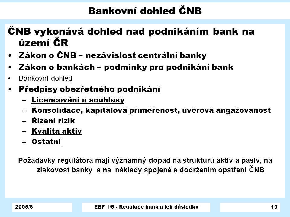 2005/6EBF 1/5 - Regulace bank a její důsledky10 Bankovní dohled ČNB ČNB vykonává dohled nad podnikáním bank na území ČR Zákon o ČNB – nezávislost cent
