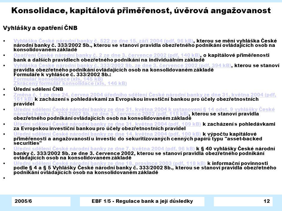 2005/6EBF 1/5 - Regulace bank a její důsledky12 Konsolidace, kapitálová přiměřenost, úvěrová angažovanost Vyhlášky a opatření ČNB Vyhláška České národ