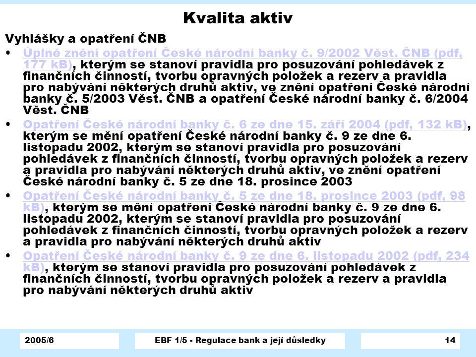 2005/6EBF 1/5 - Regulace bank a její důsledky14 Kvalita aktiv Vyhlášky a opatření ČNB Úplné znění opatření České národní banky č. 9/2002 Věst. ČNB (pd