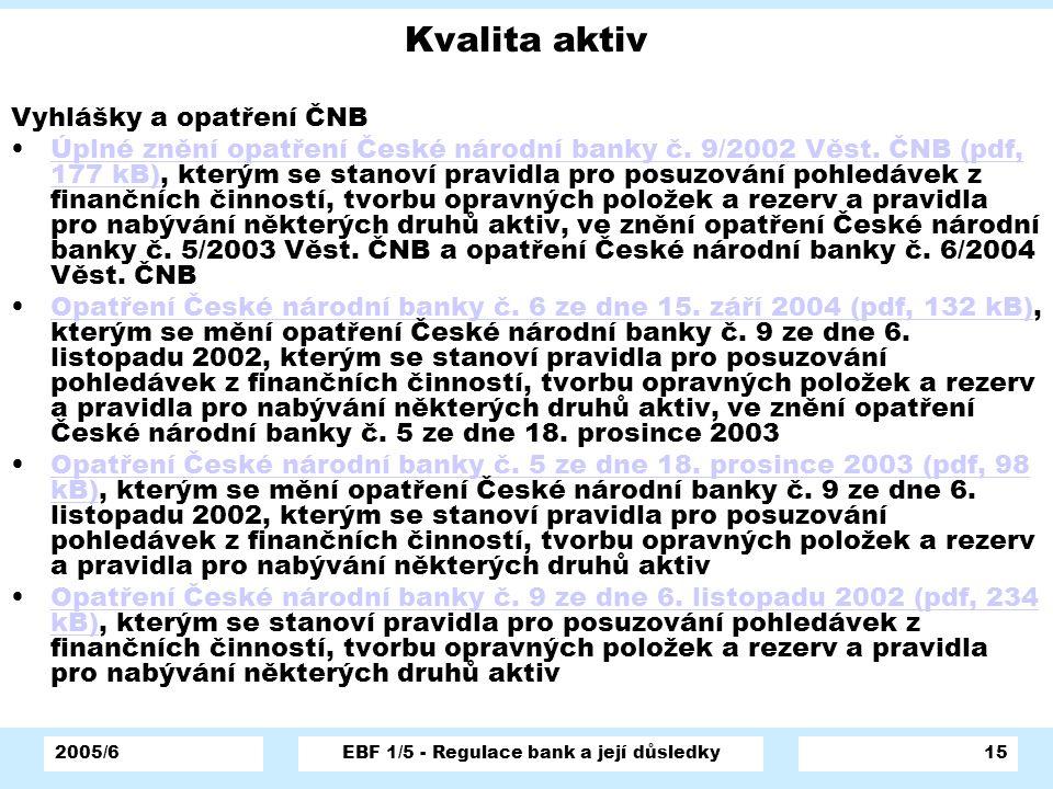 2005/6EBF 1/5 - Regulace bank a její důsledky15 Kvalita aktiv Vyhlášky a opatření ČNB Úplné znění opatření České národní banky č. 9/2002 Věst. ČNB (pd