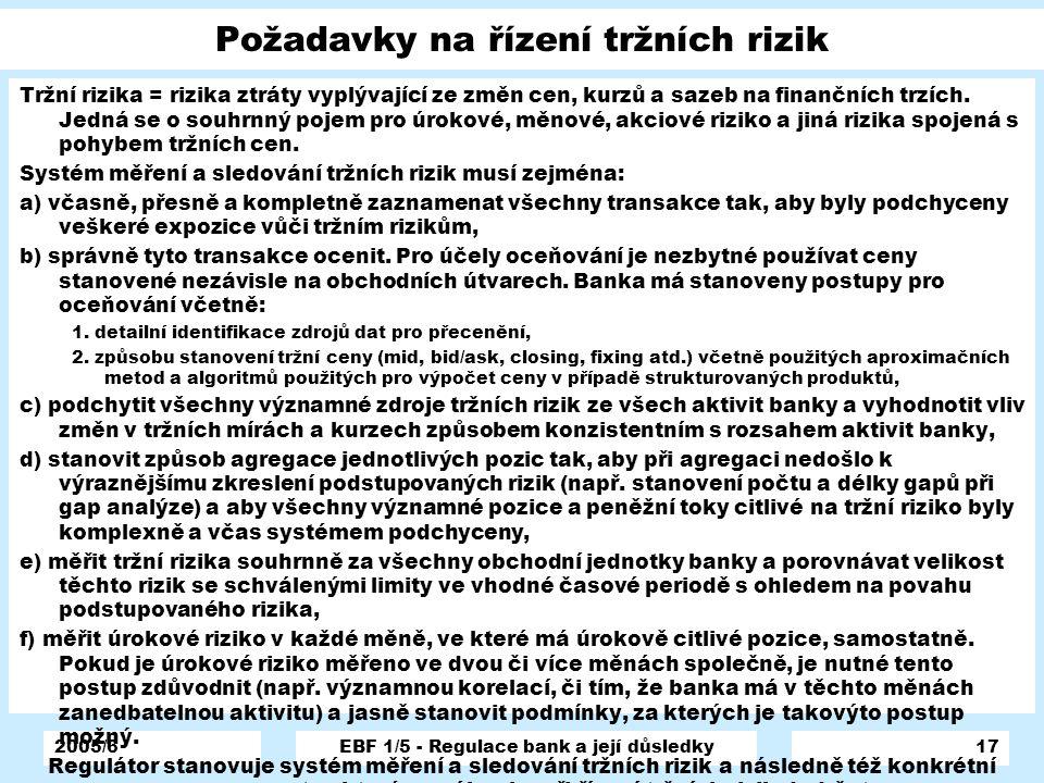 2005/6EBF 1/5 - Regulace bank a její důsledky17 Požadavky na řízení tržních rizik Tržní rizika = rizika ztráty vyplývající ze změn cen, kurzů a sazeb