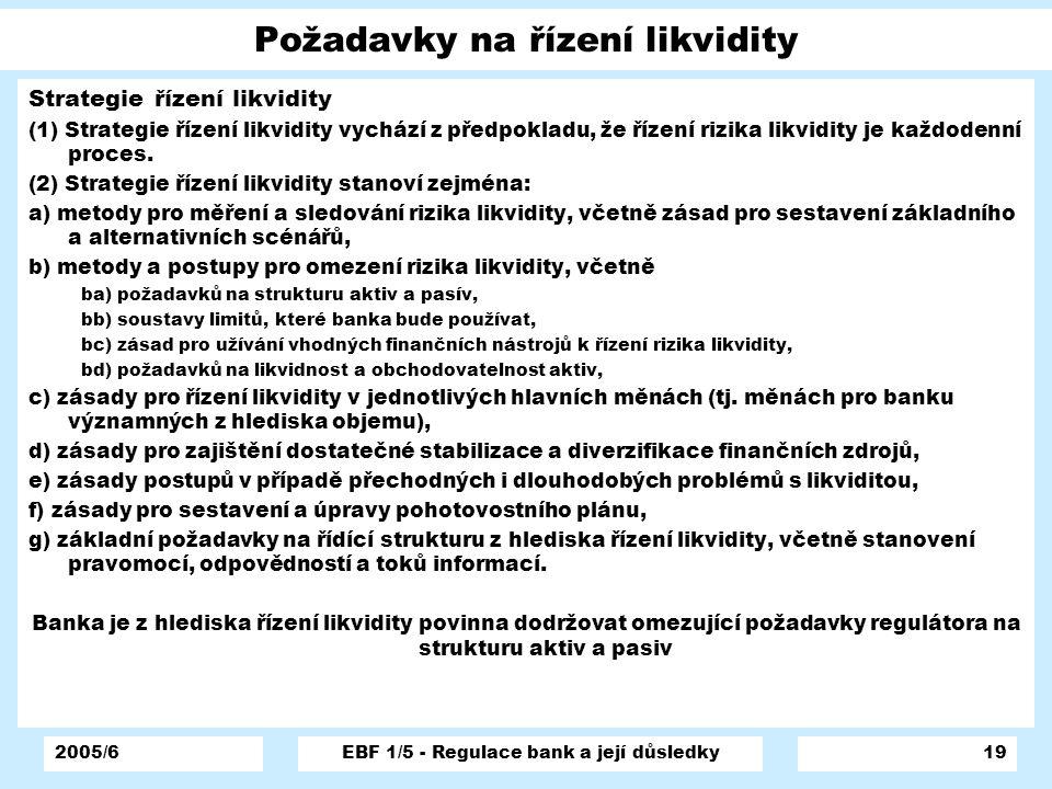 2005/6EBF 1/5 - Regulace bank a její důsledky19 Požadavky na řízení likvidity Strategie řízení likvidity (1) Strategie řízení likvidity vychází z před