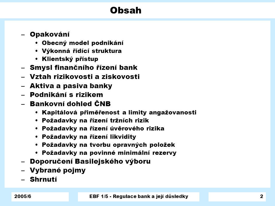 2005/6EBF 1/5 - Regulace bank a její důsledky2 Obsah –Opakování Obecný model podnikání Výkonná řídící struktura Klientský přístup –Smysl finančního ří