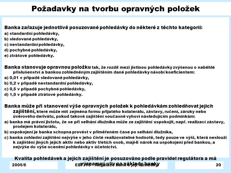 2005/6EBF 1/5 - Regulace bank a její důsledky20 Požadavky na tvorbu opravných položek Banka zařazuje jednotlivě posuzované pohledávky do některé z těc