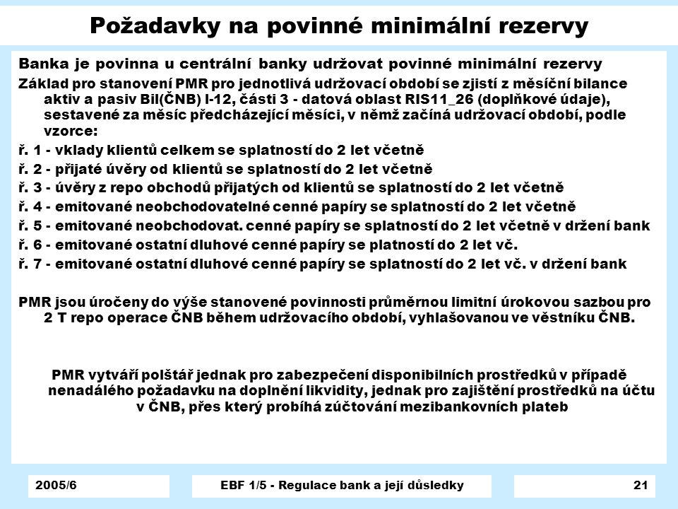 2005/6EBF 1/5 - Regulace bank a její důsledky21 Požadavky na povinné minimální rezervy Banka je povinna u centrální banky udržovat povinné minimální r