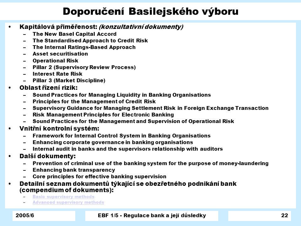 2005/6EBF 1/5 - Regulace bank a její důsledky22 Doporučení Basilejského výboru Kapitálová přiměřenost: (konzultativní dokumenty) –The New Basel Capita
