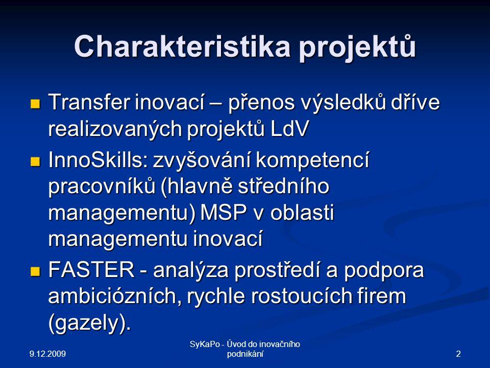 Charakteristika projektů Transfer inovací – přenos výsledků dříve realizovaných projektů LdV Transfer inovací – přenos výsledků dříve realizovaných projektů LdV InnoSkills: zvyšování kompetencí pracovníků (hlavně středního managementu) MSP v oblasti managementu inovací InnoSkills: zvyšování kompetencí pracovníků (hlavně středního managementu) MSP v oblasti managementu inovací FASTER - analýza prostředí a podpora ambiciózních, rychle rostoucích firem (gazely).