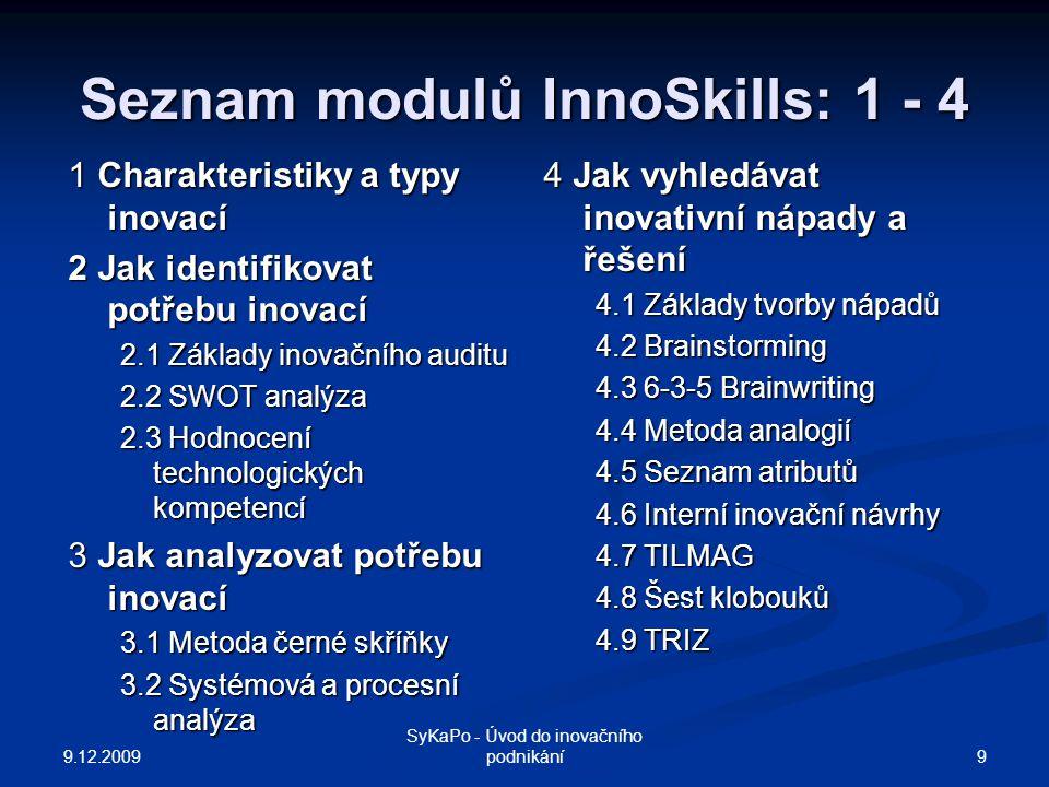 Seznam modulů InnoSkills: 1 - 4 1 Charakteristiky a typy inovací 2 Jak identifikovat potřebu inovací 2.1 Základy inovačního auditu 2.2 SWOT analýza 2.3 Hodnocení technologických kompetencí 3 Jak analyzovat potřebu inovací 3.1 Metoda černé skříňky 3.2 Systémová a procesní analýza 4 Jak vyhledávat inovativní nápady a řešení 4.1 Základy tvorby nápadů 4.2 Brainstorming 4.3 6-3-5 Brainwriting 4.4 Metoda analogií 4.5 Seznam atributů 4.6 Interní inovační návrhy 4.7 TILMAG 4.8 Šest klobouků 4.9 TRIZ 9.12.2009 9 SyKaPo - Úvod do inovačního podnikání