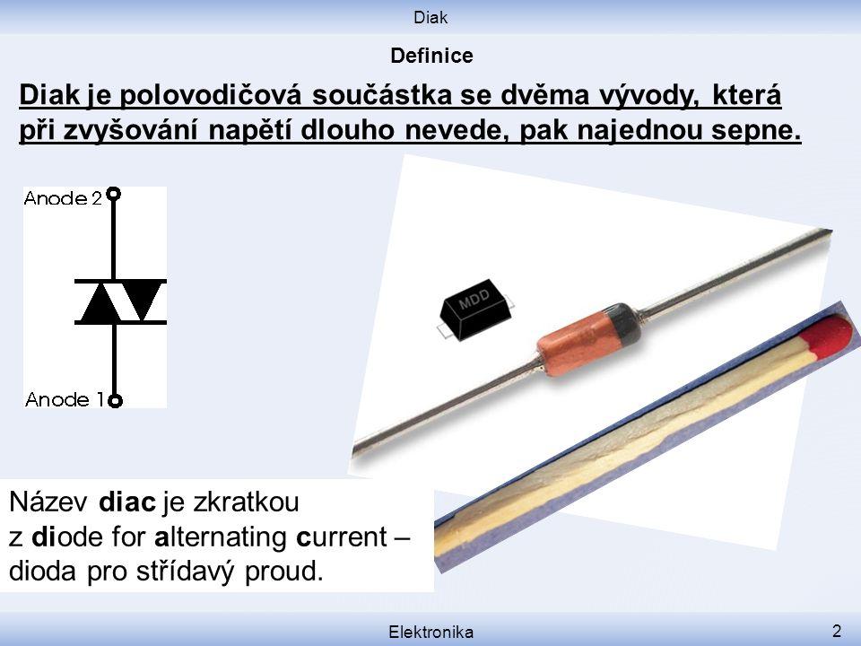 Diak Elektronika 2 Název diac je zkratkou z diode for alternating current – dioda pro střídavý proud. Diak je polovodičová součástka se dvěma vývody,