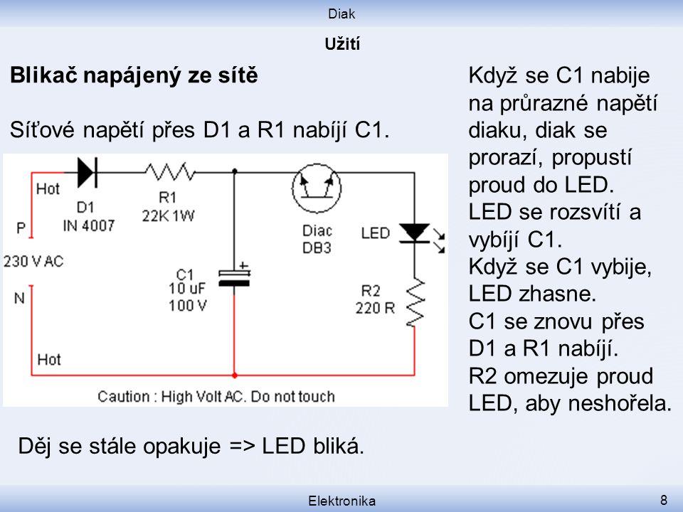 Diak Elektronika 8 Blikač napájený ze sítě Síťové napětí přes D1 a R1 nabíjí C1. Když se C1 nabije na průrazné napětí diaku, diak se prorazí, propustí