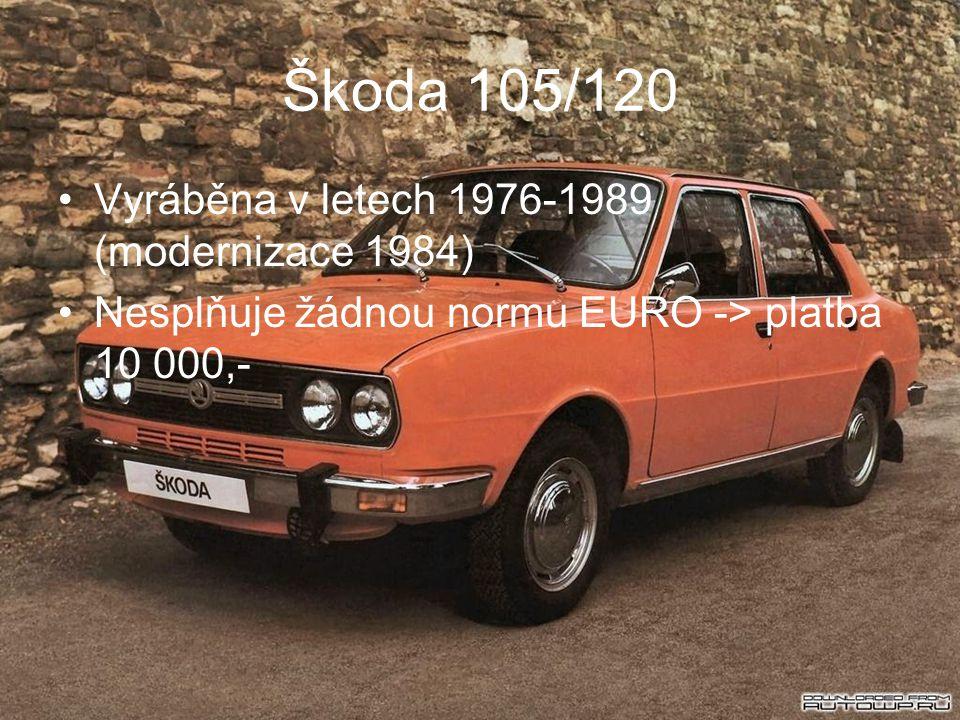 Škoda 105/120 Vyráběna v letech 1976-1989 (modernizace 1984) Nesplňuje žádnou normu EURO -> platba 10 000,-